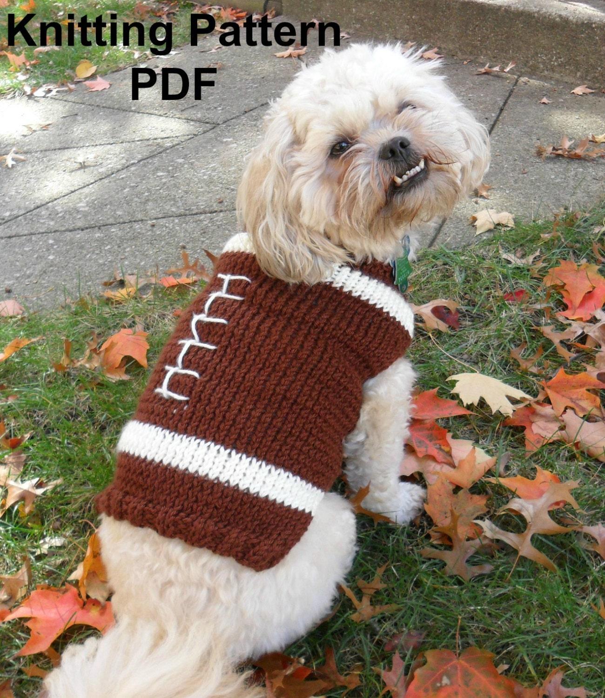 Football dog sweater knitting pattern PDF small dog sweater