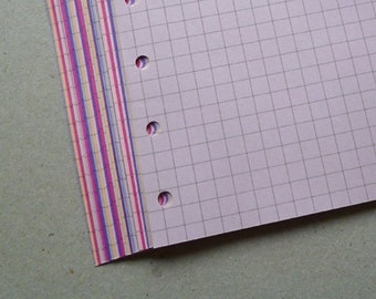Squared Notepaper inserts - Filofax or Organiser - pink and purple - A5/personal/pocket/mini