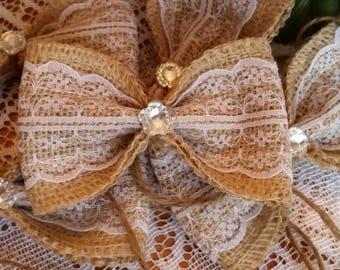 SMALL BURLAP BOWS Set of 5 Rustic Decor Wedding Bows Party Bows Mason Jars Home Decor