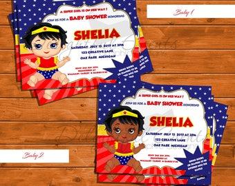 Baby Girl, Wonder Woman Super Hero Baby Shower Invitation