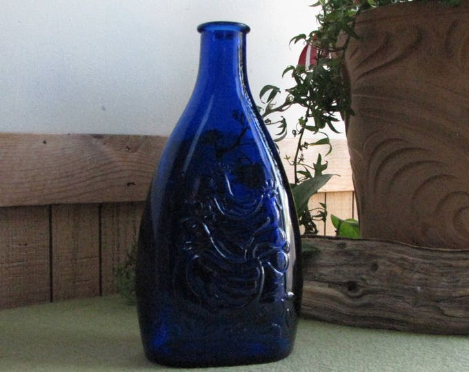 Vintage Cobalt Blue Chicken Bottle Old Holiday Jar Season Greetings 1972 Old Liquor Bottles