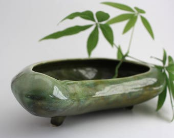 Vintage Kidney Shaped Footed Ceramic Planter