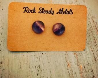 Amethyst stone button stud earrings