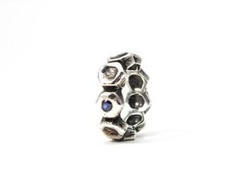 Men's Wedding Band, Blue Sapphire Ring, Hexagon Ring, Sterling Silver Rugged Ring, Men's Ring, September Birthstone, September Birthday