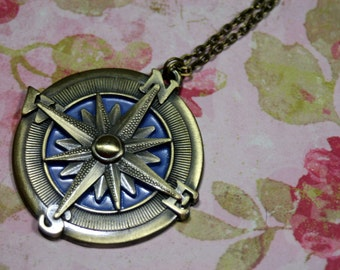 Large Compass Rose Charm Necklace Go In the Direction of your dreams