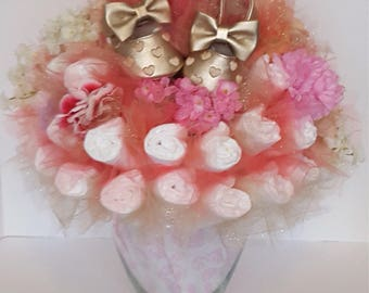 Diaper Bouquet- baby shower centerpiece - baby shower decorations - unique baby gift - baby shower gift - new mom gift - baby shoes bouquet