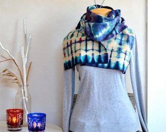 Hand Dyed Scarf Modern Tie Dye Purple Bright Blue & Cream Light Wool Shibori Style