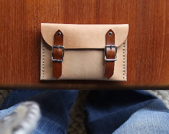 Hand Stitched Leather Buckle Wallet // Nude