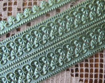 Dresden Trim Germany 5 Rows Fancy Fleur De Lis Paper Lace Aqua  DFW206SF