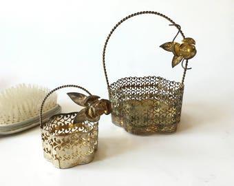 Vintage baskets vintage metal basket vanity storage jewelry storage vintage jewelry