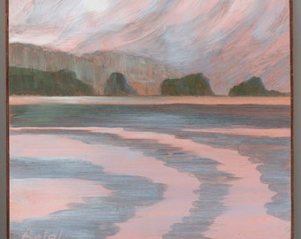 Seascape, Small Oil Painting, Daily Painting Patterns when the tide changes in front of Alaska Islands reflective copper OOAK metallic art