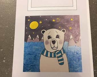 Polar bear greeting card - blank