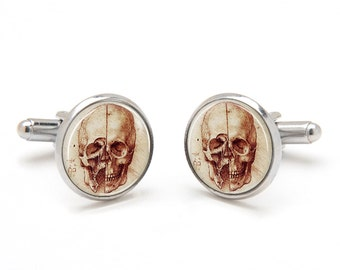 Skull Cufflinks - Human Skull Jewelry - Unique Gift for Boyfriend - Human Anatomy Skull Cufflinks - Cufflinks for Brother - Silver Cufflinks