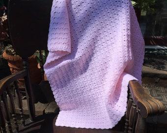 Pastel Pink Baby Afghan, Baby Pink Crochet Baby Afghan, Crochet Baby Blanket