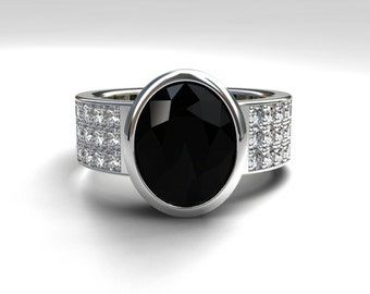 Oval cut black spinel engagement ring, diamond ring, wide, black engagement, gothic, bezel, solitaire, modern, unique, pave, white gold