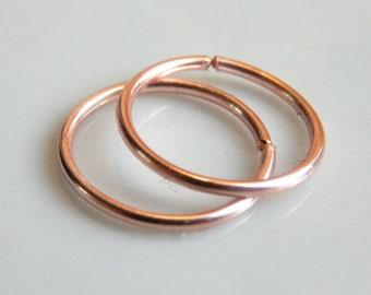 Rose Gold Hoop Earrings / Rose Gold Cartilage Hoop Earrings / helix piercing / Nose Hoops /Gold Hoop Earrings