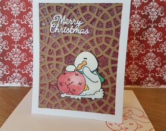 Christmas Card - snowman with broken ornament glitterbead background - greeting card, snowflakes