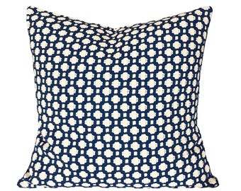 Schumacher Indigo Blue Betwixt Throw Pillow Cover - Both Sides - 10x20, 12x16, 12x20, 14x18, 14x24, 16x16, 18x18, 20x20, 22x22, 24x24