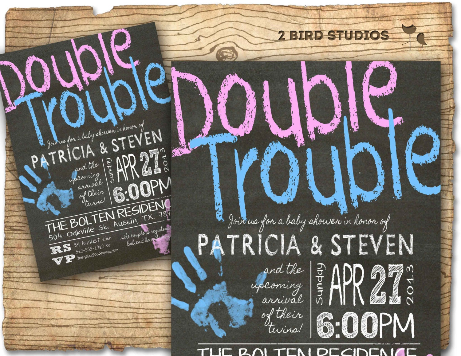 Twins baby shower invitation Twins double trouble baby