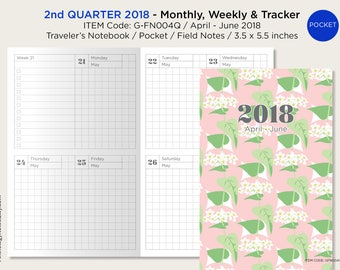 April to May 2018 Pocket Traveler's Notebook - Weekly, Monthly & Tracker - Printable Planner - 2nd Quarter