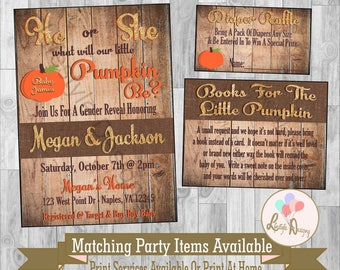Fall Gender Reveal Invitation - What Will The Little Pumpkin Be - He or She - Pumpkin Gender Reveal - Rustic Invitation - Pumpkin Invitation