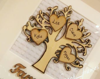 Personalised Family Tree Family Gift Family Tree with Hearts and Paws Custom Family Tree Angel Wings Colour Options