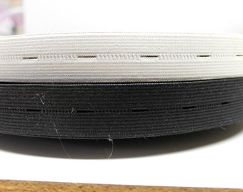 "vintage white/black 3/8"" buttonhole elastic, .10mm,black/white trouser,sewing elastic,5 yards"