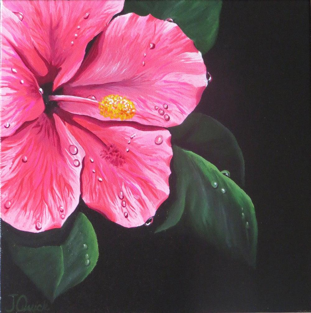 Hibiscus painting pink flower rain art raindrop painting zoom izmirmasajfo Gallery