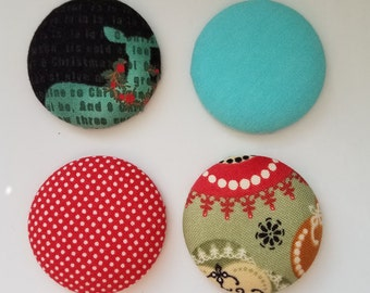 Cute gift for her fridge refrigerator fabric button magnets set for co worker office gift Christmas magnets