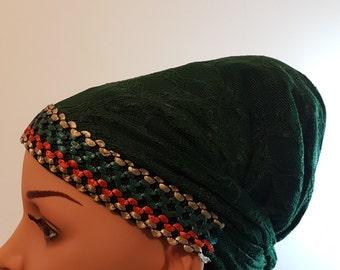 Tichel , Green Head Scarf , Head Warp , Snood , Hair Covering , Mitpacaht Tichel , Chemo Hat , Headcovering, Headwear
