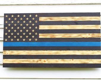 Thin Blue Line Flag, Wood Flag, Wooden Flag, Police Flag, American Flag, Police Officer Flag, Charred Wood Flag, Blue Line Flag, Burnt Flag
