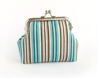 Turquoise Purse Stripes, Brown, Emerald Green Bridal Clutch with Kisslock