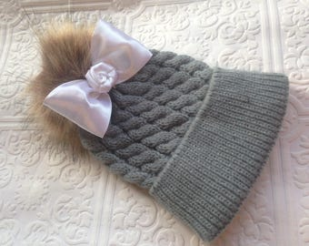 Baby hat, Christmas baby hat, knit baby hat, gray baby hat,  baby pompom hat, pom Pom hat, winter baby hat, soft baby hat, grey baby hat