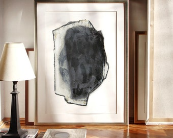 Big Abstract Drawing Head in Graphite Black, Huge Art Print, 20x27 Poster Size Artwork