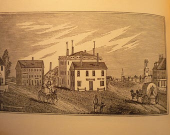 Lynn Massachusetts Town Engravings - New England Antiquarian Society - framable gift town history 1800 historic scene