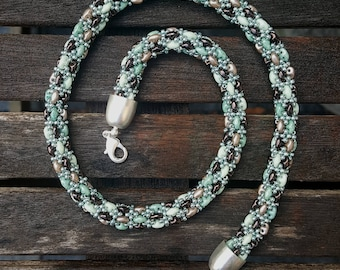 Seafoam Beaded Necklace - Brown Mint Necklace - Classic Beaded Rope - Turquoise Necklace - Christmas Gift for Women - Silver Turquoise Rope