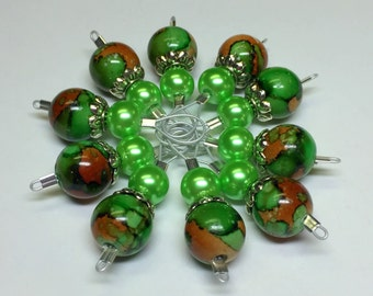 Flexible Wire Loop Stitch Markers for Knitting - SNAG FREE Green & Brown Stitch Marker Set - Gift for Knitters