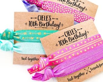 Custom Birthday Party Hair Tie Favors | Custom Birthday Hair Tie Gift, Personalized Party Favors, Girls Sleepover Pink Purple Turquoise