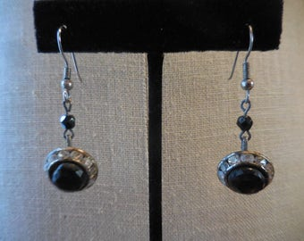 Vintage 1950s to 1960s Silver Tone Dangle Earrings Retro Updated Long Black Bead and Clear Rhinestones Pierced
