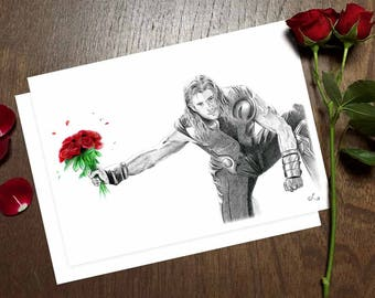 Thor Valentine's Card, Chris Hemsworth Valentine, Hot Guy Card, Superhero Valentine Card, Thor with Roses, Avengers Valentine Card