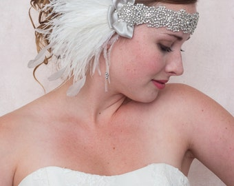 Diamonds And Ice Ostrich Feather Headband // Ivory Crystal Silver Rhinestone Gatsby Headband