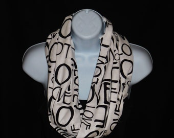Black Love on White Cotton Jersey Knit Infinity Scarf