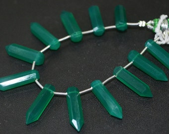Top Quality Green Onyx Large Pointed Pencil ,5 inch Strand ,5x20 mm , 12 pc