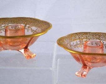 Fostoria Candlesticks Pair Pink Glass 1 Light 3 Footed Encrusted Gold
