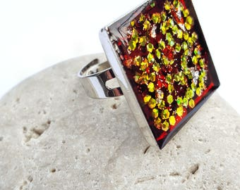 Woman ring cabochon, square, woman ring red ring, resin ring, Adjustable ring, open ring large ring, red ring