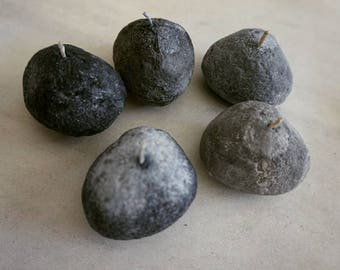 Set of 3 Pebble Candles   Rough Skin   Stone Candle   Nature