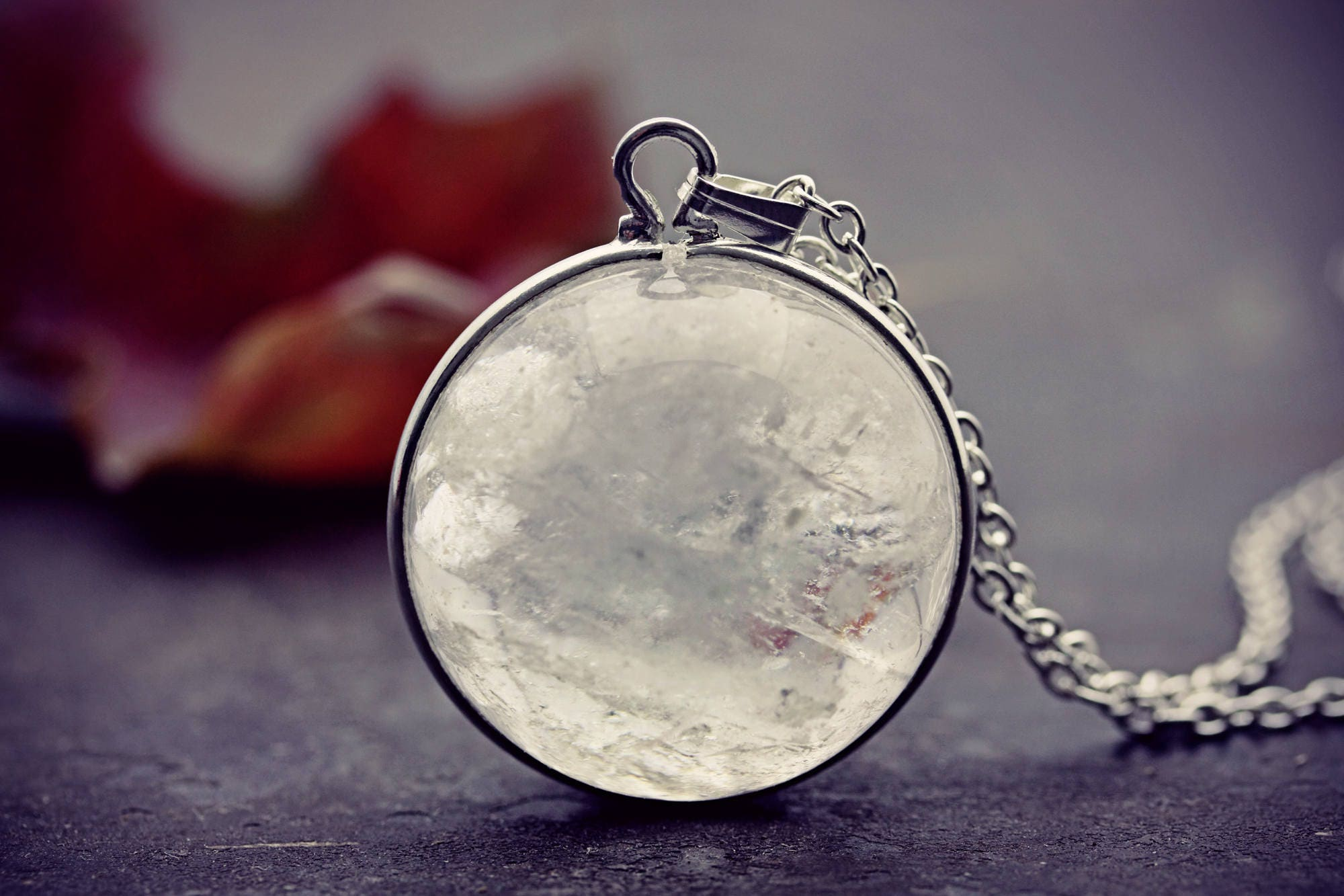 swedish crystal ball quartz s clawfoot pendant