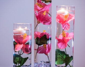 Submersible flowers etsy submersible pink hibiscus floral wedding centerpiece with floating candles and acrylic crystals kit mightylinksfo