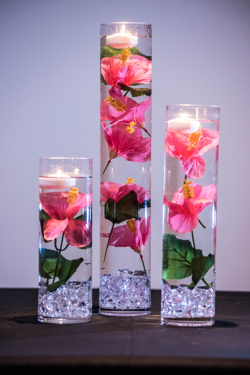 Submersible Pink Hibiscus Floral Wedding Centerpiece With