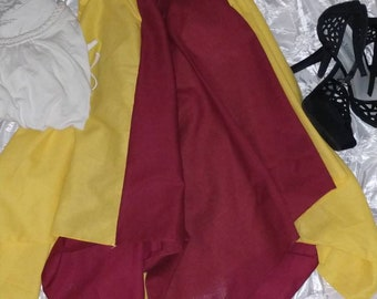 Gryffindor, Harry Potter, Maroon and gold Hi Lo, boho Bandana skirt